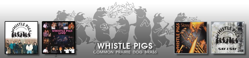 Whistle Pigs Band Footer showing dancing pigs and four CD Covers